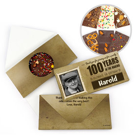 Personalized 100th Years to Perfection Milestone Birthday Gourmet Infused Belgian Chocolate Bars (3.5oz)