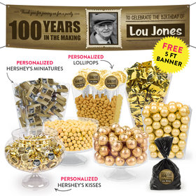 Personalized Milestone 100th Birthday Photo Deluxe Candy Buffet