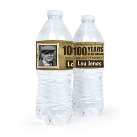 Personalized Milestones Birthday 100th Vintage Photo Water Bottle Sticker Labels (5 Labels)