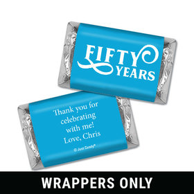 Personalized Milestones 50th Type Birthday Hershey's Miniatures Wrappers Only