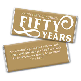 Personalized Milestone Birthday Fifty Chocolate Bar