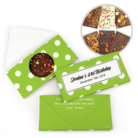 Personalized Polka Dots Birthday Gourmet Infused Belgian Chocolate Bars (3.5oz)