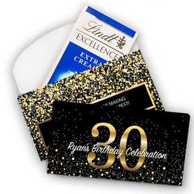 Deluxe Personalized Milestone 30th Elegant Birthday Bash Lindt Chocolate Bar in Gift Box (3.5oz)