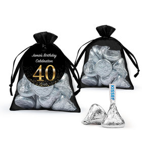 Personalized Elegant 40th Birthday Bash Hershey's Kisses in Organza Bags with Gift Tag