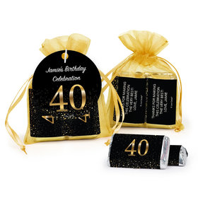 Personalized Elegant 40th Birthday Bash Hershey's Miniatures in Organza Bags with Gift Tag
