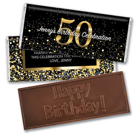 Personalized Milestone Elegant Birthday Bash 50 Embossed Chocolate Bar