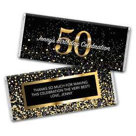 Personalized Milestone Elegant Birthday Bash 50 Chocolate Bar