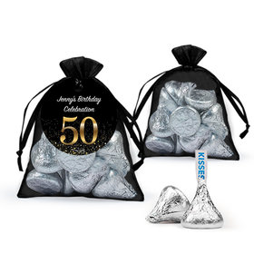 Personalized Elegant 50th Birthday Bash Hershey's Kisses in Organza Bags with Gift Tag