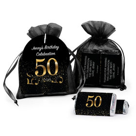 Personalized Elegant 50th Birthday Bash Hersheys Miniatures In Organza Bags With Gift Tag