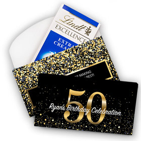 Deluxe Personalized Milestone 50th Elegant Birthday Bash Lindt Chocolate Bar in Gift Box (3.5oz)