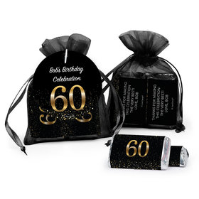 Personalized Elegant 60th Birthday Bash Hershey's Miniatures in Organza Bags with Gift Tag