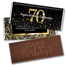 Personalized Milestone Elegant Birthday Bash 70 Embossed Chocolate Bar