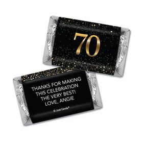 Personalized Elegant Birthday Bash 70 Hershey's Miniatures Wrappers