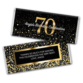 Personalized Milestone Elegant Birthday Bash 70 Chocolate Bar Wrappers