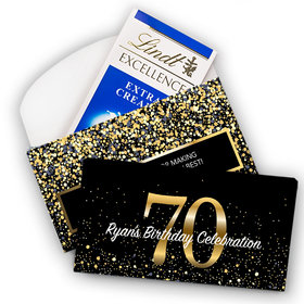 Deluxe Personalized Milestone 70th Elegant Birthday Bash Lindt Chocolate Bar in Gift Box (3.5oz)