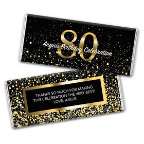 Personalized Milestone Elegant Birthday Bash 80 Chocolate Bar Wrappers