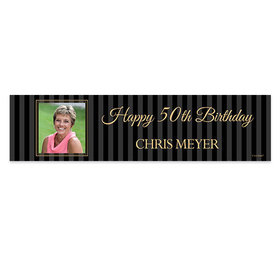 Personalized 50th Pinstripe Photo Birthday Banner