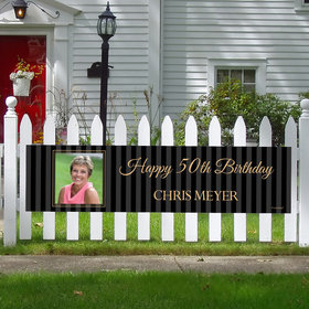 Personalized 50th Pinstripe Photo Birthday 5 Ft. Banner