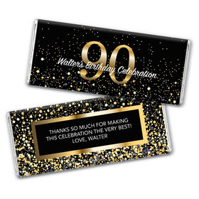 Personalized Milestone Elegant Birthday Bash 90 Chocolate Bar Wrappers