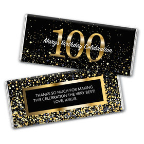 Personalized Milestone Elegant Birthday Bash 100 Chocolate Bar