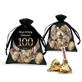 Personalized Elegant 100th Birthday Bash Hershey's Kisses in Organza Bags with Gift Tag