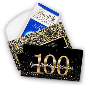 Deluxe Personalized Milestone 100th Elegant Birthday Bash Lindt Chocolate Bar in Gift Box (3.5oz)