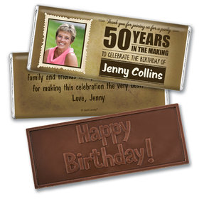 Personalized Years to Perfection Milestone 50th Birthday Embossed Chocolate Bar