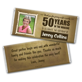 Personalized Years to Perfection Milestone 50th Birthday Chocolate Bar Wrappers