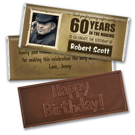 Personalized Years to Perfection Milestone 60th Birthday Embossed Chocolate Bar