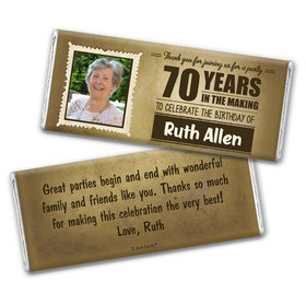 Personalized Years to Perfection Milestone 70th Birthday Chocolate Bar Wrappers