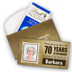 Deluxe Personalized Milestone 70th Birthday Years in the Making Lindt Chocolate Bar in Gift Box (3.5oz)
