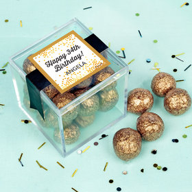 Personalized Birthday Charming Confetti Sweet Candy in a Cube with Premium Sparkling Prosecco Cordials - Dark Chocolate