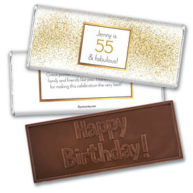 Personalized Birthday Glimmering Gold Embossed Chocolate Bars