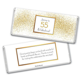 Personalized Birthday Glimmering Gold Chocolate Bar Wrappers
