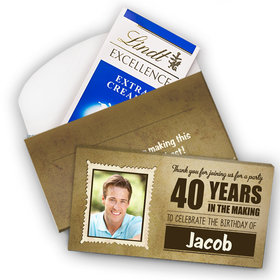 Deluxe Personalized Milestone 40th Birthday Years in the Making Lindt Chocolate Bar in Gift Box (3.5oz)