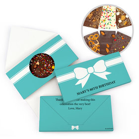 Personalized Bow Birthday Gourmet Infused Belgian Chocolate Bars (3.5oz)