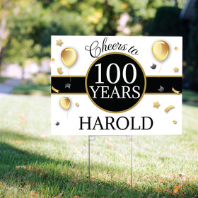 100th Birthday Yard Sign Personalized - Milestone Cheers