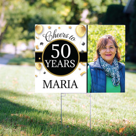 50th Birthday Yard Sign Personalized - Milestone Cheers with Photo