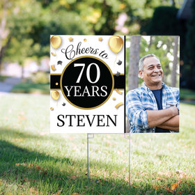 70th Birthday Yard Sign Personalized - Milestone Cheers with Photo