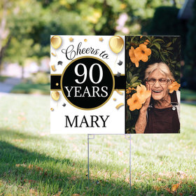 90th Birthday Yard Sign Personalized - Milestone Cheers with Photo