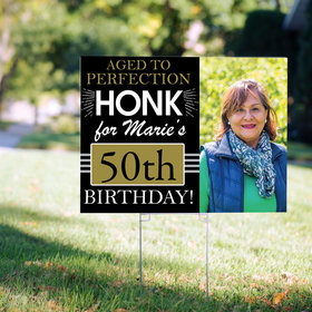 50th Birthday Yard Sign Personalized - Aged to Perfection with Photo