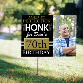 70th Birthday Yard Sign Personalized - Aged to Perfection with Photo