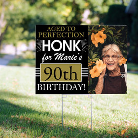 90th Birthday Yard Sign Personalized - Aged to Perfection with Photo