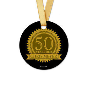 Personalized Birthday 50th Age Seal Round Favor Gift Tags (20 Pack)