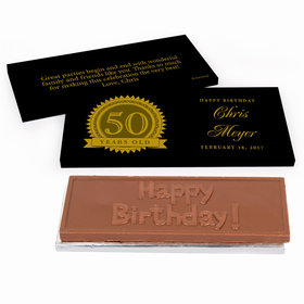 Deluxe Personalized 50th Milestones Seal Birthday Chocolate Bar in Gift Box
