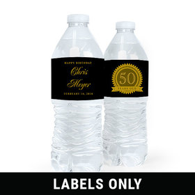 Personalized Milestones Birthday 50th Seal of Experience Water Bottle Sticker Labels (5 Labels)