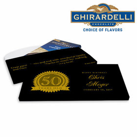 Deluxe Personalized 50th Seal Birthday Ghirardelli Chocolate Bar in Gift Box
