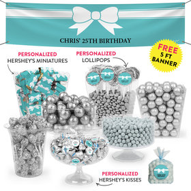 Personalized Birthday Photo & Bow Deluxe Candy Buffet