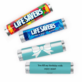 Personalized Tiffany Style Bow Birthday Lifesavers Rolls (20 Rolls)