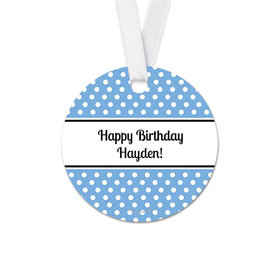Personalized Polka Dots Birthday Round Favor Gift Tags (20 Pack)